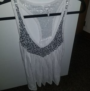 Aeropostale White Tank Top with Silver Sequins